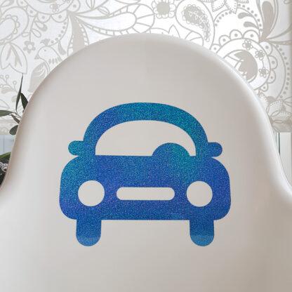 Bil i blå glitter på Antilop-stol