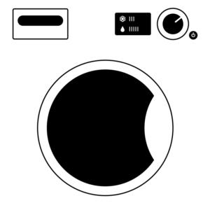 Tvättmaskin med svarta detaljer