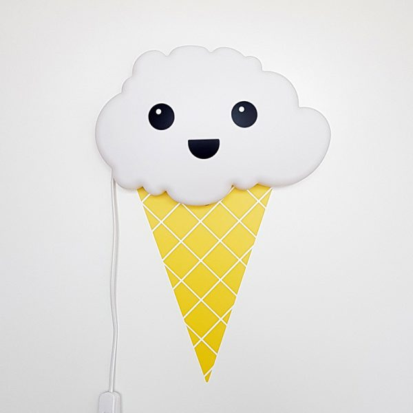Ice cream cone together with a happy face on a cloud wall lamp