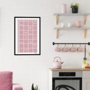 Planeringstavla i fin rosa pastell