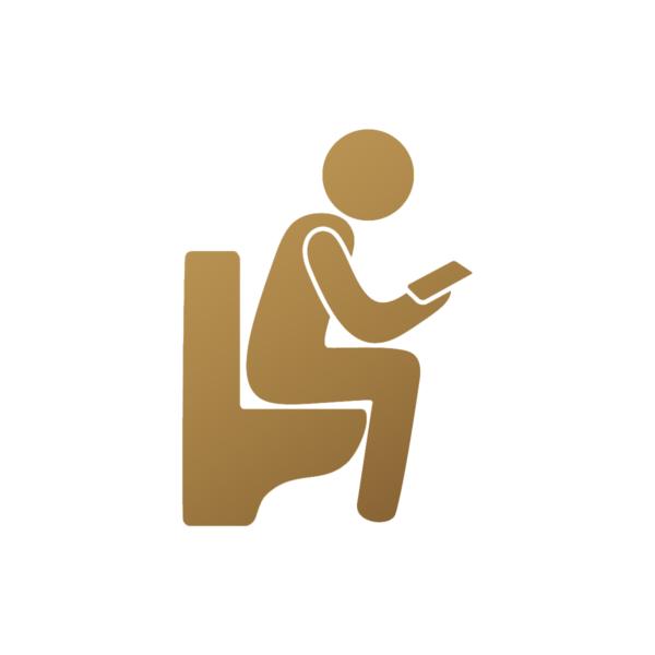 WC-skylt i guld till nutida hem