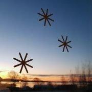 Snöflingor på fönster