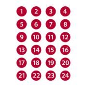 Stickers 1-24 i rött