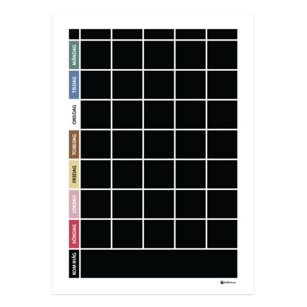Planeringstavla med fem kolumner och veckodagar i färg enligt TEACCH