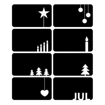 Juletiketter med åtta olika motiv