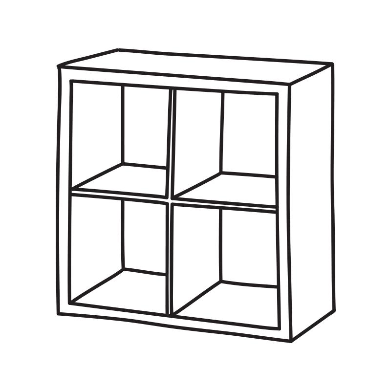 Kallax (IKEA) Illustration av en hylla med 2x2 fack.