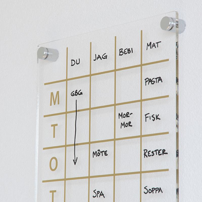 Planeringstavla i plexiglas