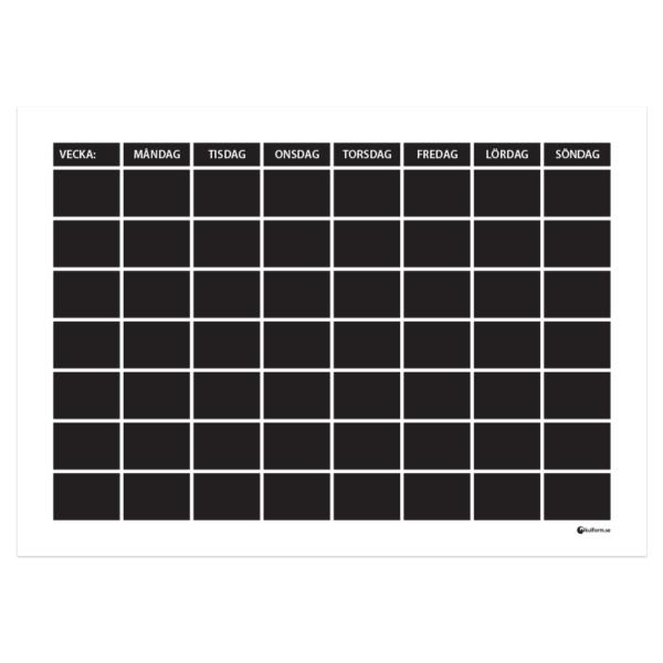 Planeringstavla, vecka med 7 rader (70x50 cm)